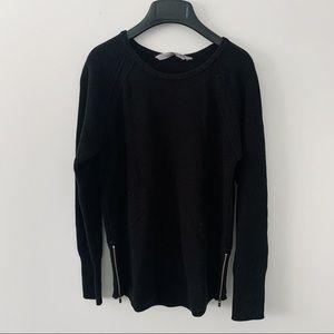 Athleta Black Ribber Crew Sweater Zipper